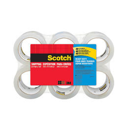 "Scotch Heavy Duty Shipping Packaging Tape, 3"" Core, 1.88"" x 54.6 Yards (6 Pack)"