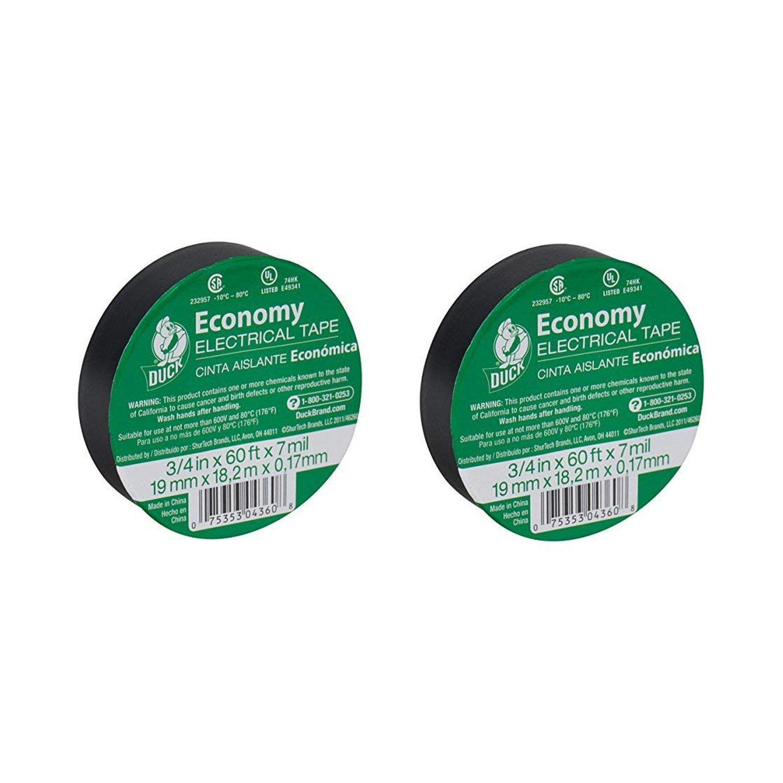 Duck Brand 299006 3/4-Inch by 60 Feet Utility Vinyl Electrical Tape (2 Pack)