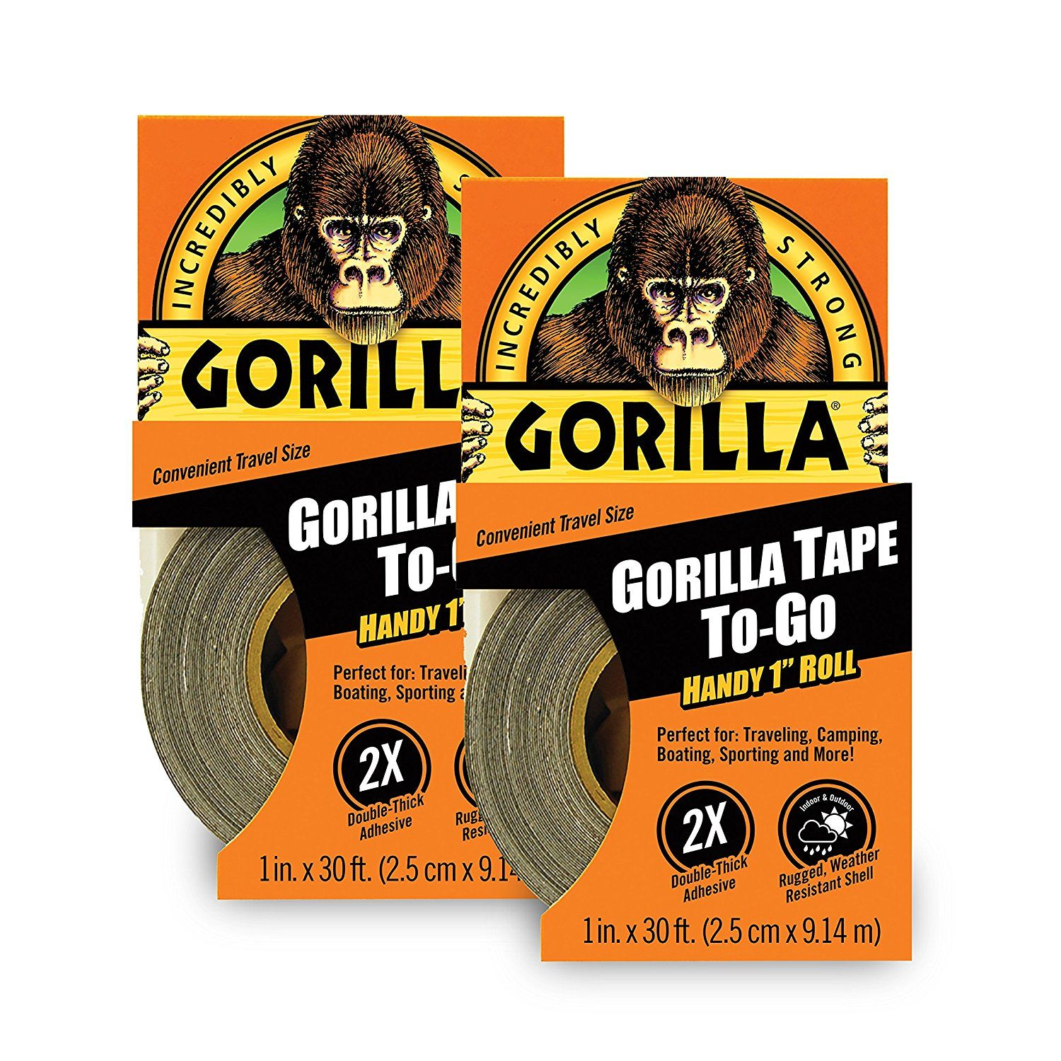 "Gorilla 6100116 Duct Tape To-Go 1"" x 10 yd (2 Pack)"