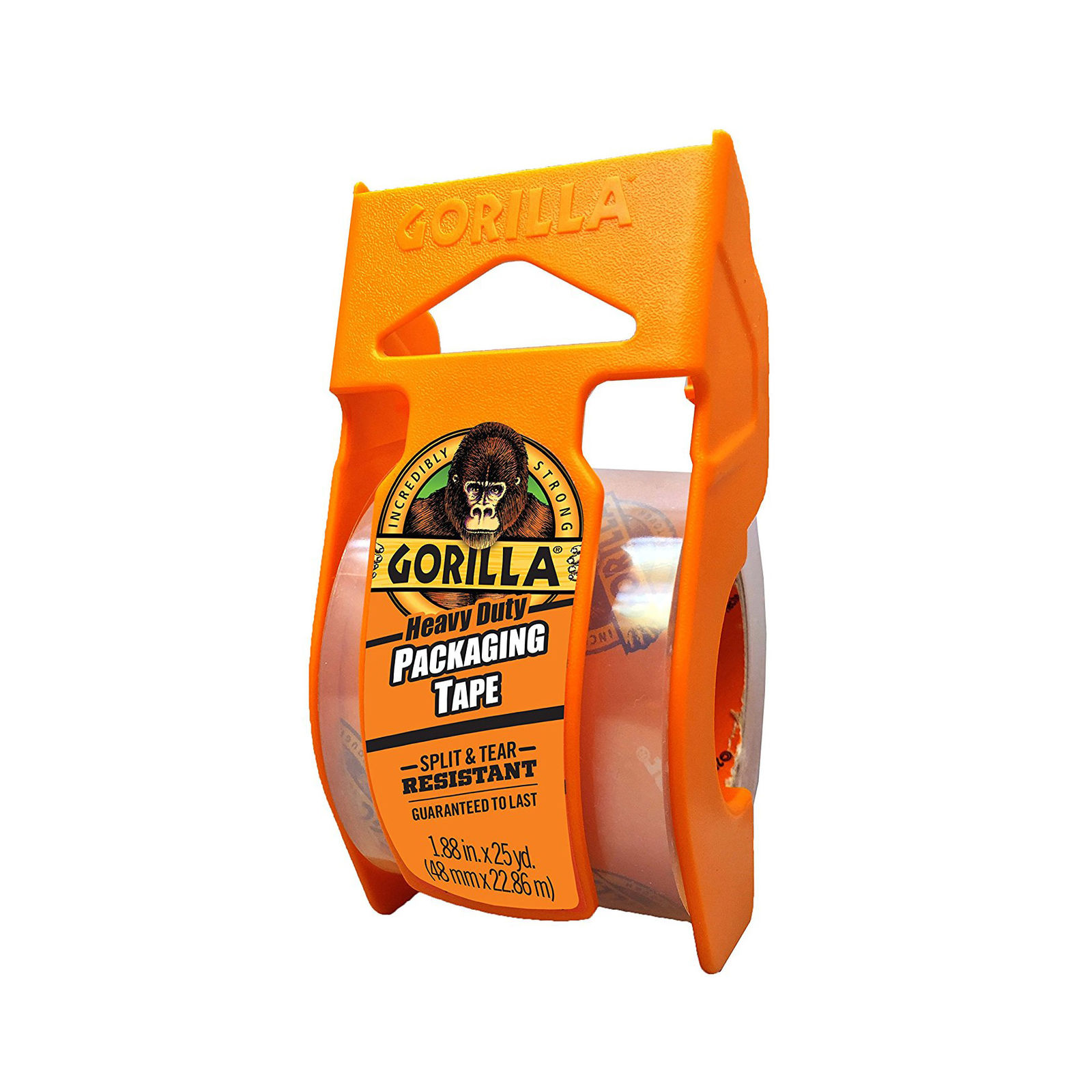 "Gorilla Heavy Duty Packing Tape with Dispenser, 1.88"" x 25 yd, Clear"
