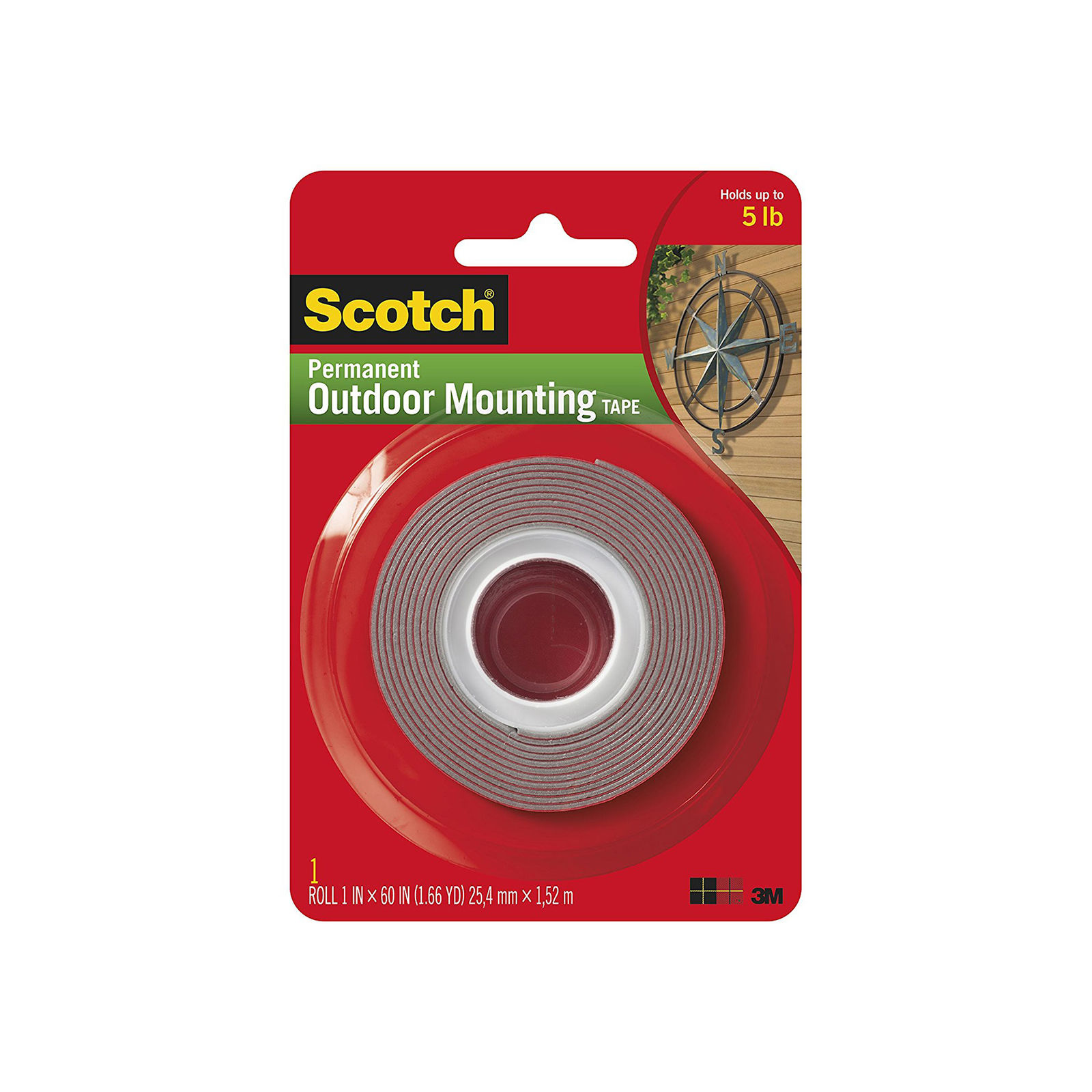 "Heavy-Duty Exterior Mounting Tape, Holds 5 lb., 1""x60"""