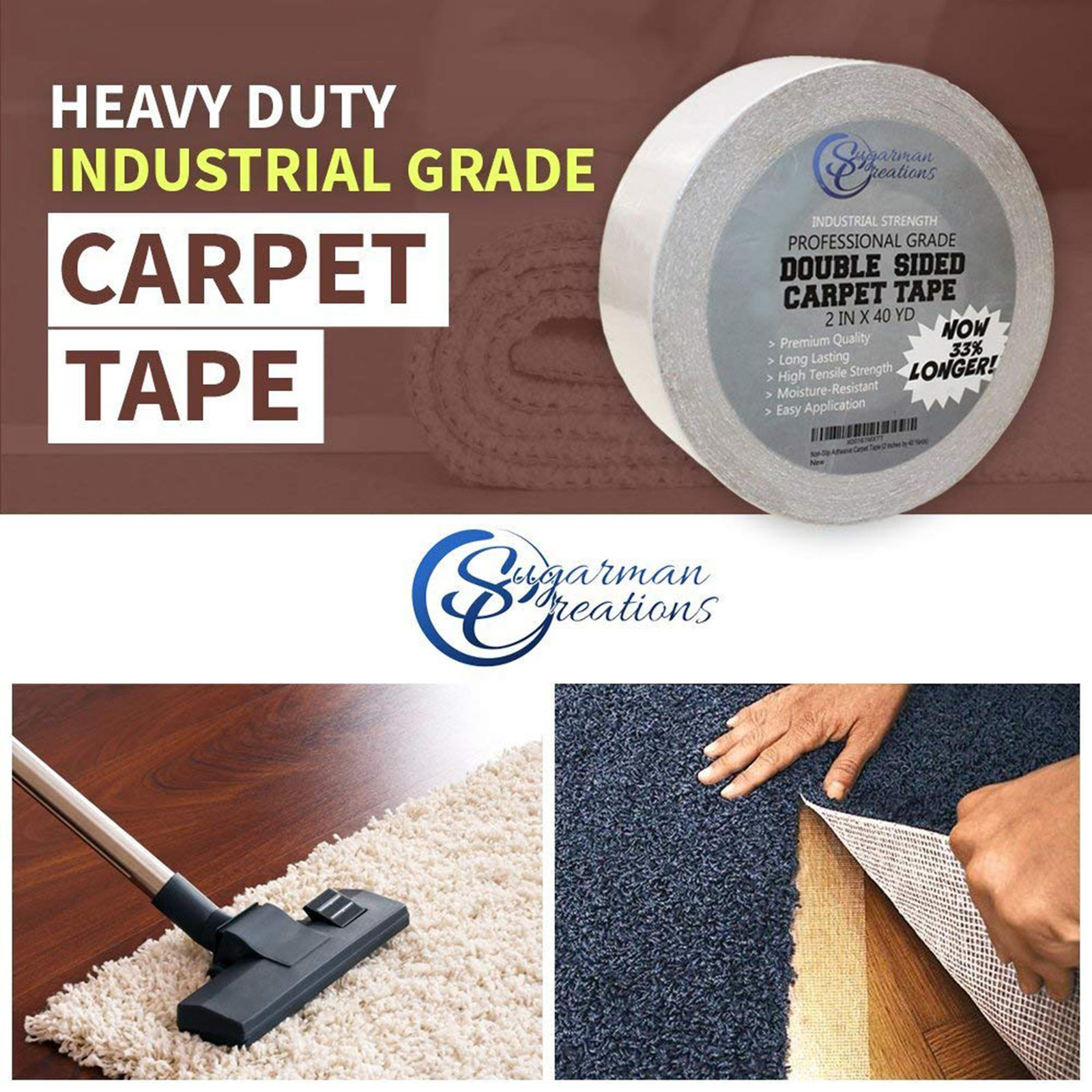 Sugarman Creations Strongest Double Sided Carpet Tape 4 In