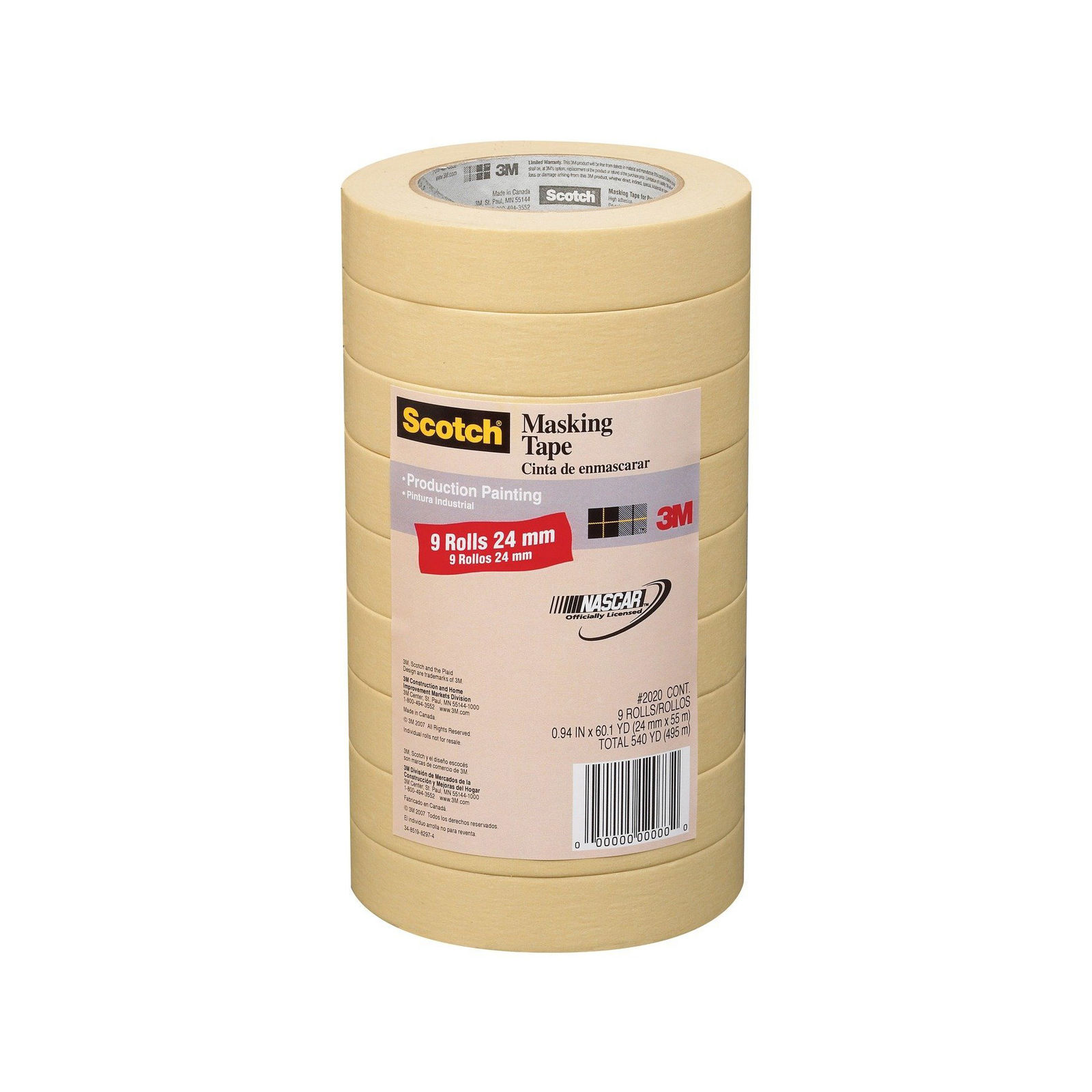 3M Scotch General Purpose Masking Tape 2020-24A-CP, 0.94-Inch by 60.1-Yards