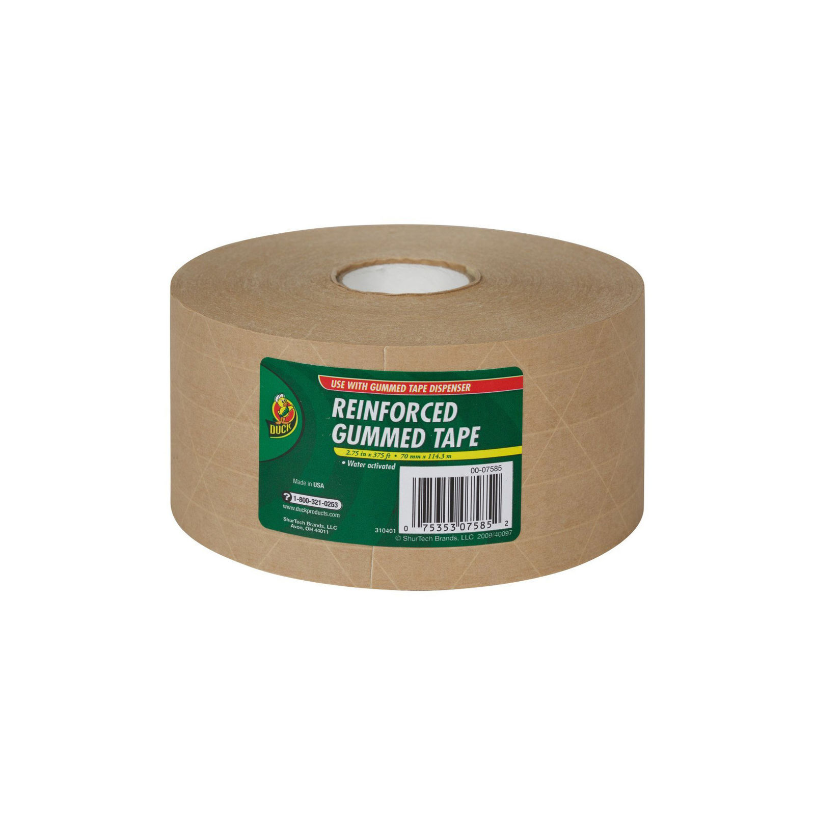 "Duck Fiberglass Reinforced Gummed Kraft Paper Tape, Water Activated, 2.75"" x 375'"